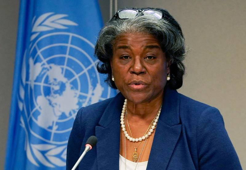 """(FILES) In this file photo US ambassador to the United Nations, Linda Thomas-Greenfield, and President of the Security Council speaks during a press conference for the Security Council programme of work in March at the UN Headquarters in New York on March 1, 2021. The moment has come for """"inclusive, representative"""" government in Sudan, the US ambassador to the UN said on March 9, 2021, calling for """"comprehensive and sustainable peace"""" in the African nation. Six months after the Juba peace agreement between the civilian-led transitional government and rebel groups was signed, """"the Sudanese people have not seen the commitment and engagement by signatory parties necessary for progress,"""" Linda Thomas-Greenfield said during a United Nations Security Council videoconference.   / AFP / TIMOTHY A. CLARY"""