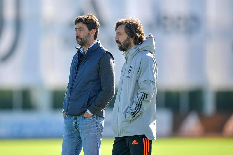 TURIN, ITALY - OCTOBER 27: Juventus coach Andrea Pirlo with Andrea Agnelli during the UEFA Champions League training session at JTC on October 27, 2020 in Turin, Italy. (Photo by Daniele Badolato - Juventus FC/Juventus FC via Getty Images)