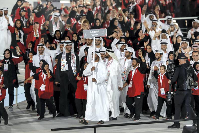 ABU DHABI, UNITED ARAB EMIRATES. 14 MARCH 2019. UAE Team arrives at the Opening Ceremony of the Special Olympics at Zayed Sports City. (Photo: Antonie Robertson/The National) Journalist: None: National.
