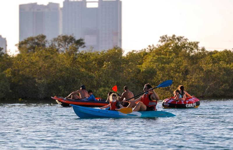 Abu Dhabi, United Arab Emirates, October  21, 2020.   Al Reem Island for area guide.   Kayaking fun at Reem  mangrove area.Victor Besa/The National.Section:  NAReporter:  Gillian Duncan