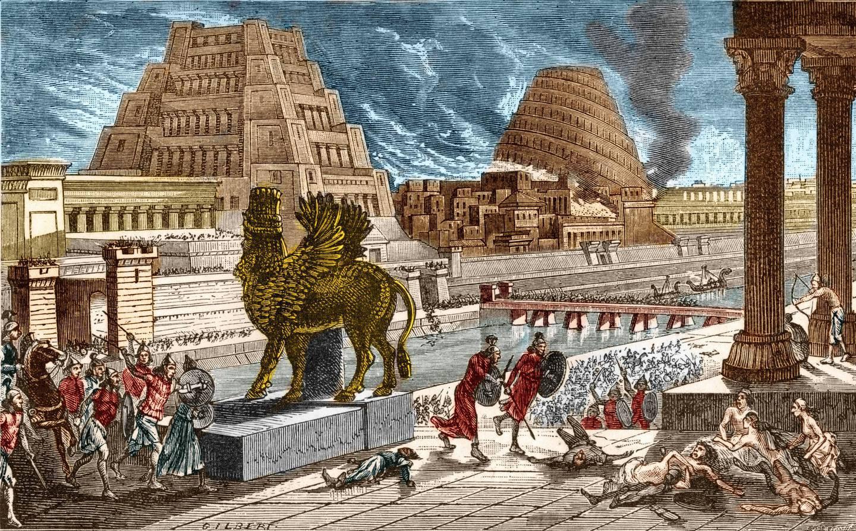 Print by Gilbert, 1881.   Location: Babylon, Mesopotamia. (Photo by Stefano Bianchetti/Corbis via Getty Images)
