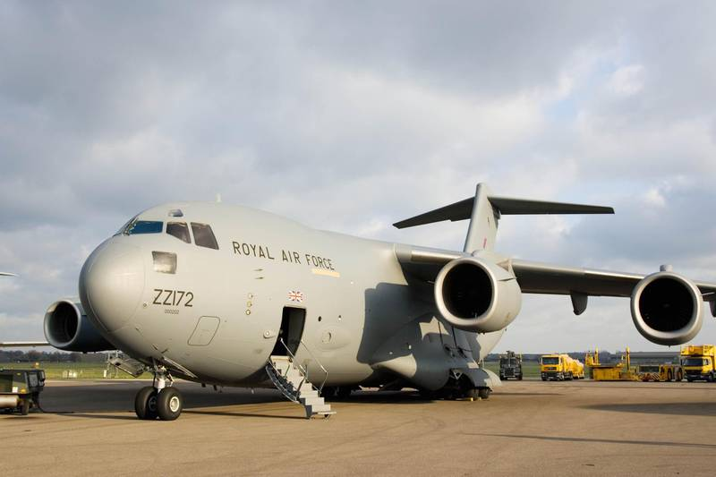 GREAT BRITAIN - FEBRUARY 02:  C17 transport plane at RAF Brize Norton in Oxfordshire, United Kingdom  (Photo by Tim Graham/Getty Images)