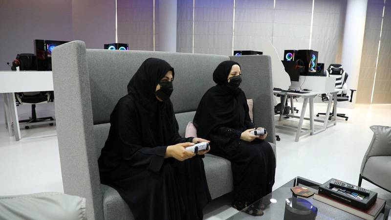 Screenshots for a video she's done about an all-girls gaming lounge in Abu Dhabi. Photo: Wajod Alkhamis / The National