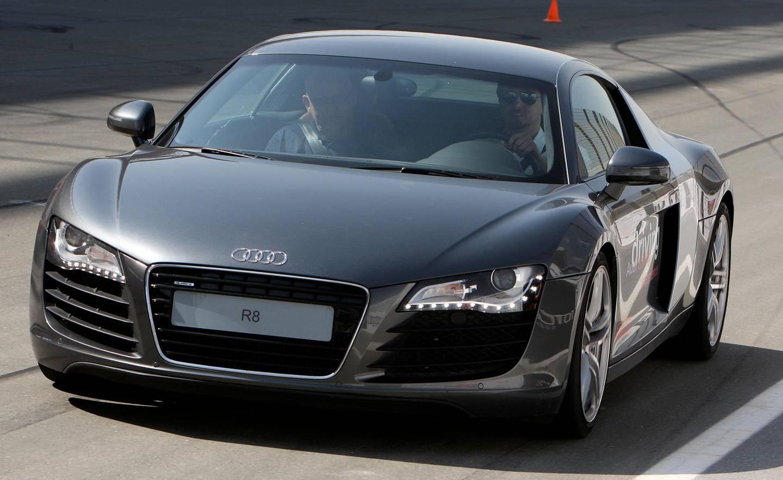 DUBAI, UNITED ARAB EMIRATES – Nov 17: Audi R8 sports car at Dubai Autodrome in Dubai. (Pawan Singh / The National) Story by Neil *** Local Caption ***  PS16- AUDI R8.jpgPS16- AUDI R8.jpg