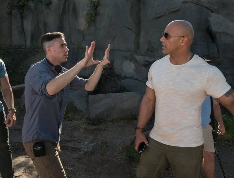 Brad Peyton and Dwayne Johnson in Rampage. Frank Masi / Warner Bros. Pictures