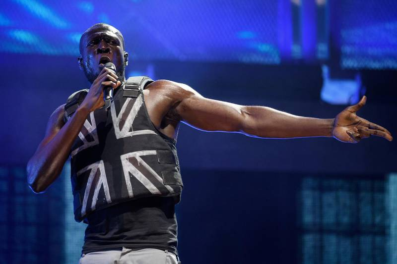 GLASTONBURY, ENGLAND - JUNE 28: Stormzy performs in the headline slot on the Pyramid Stage on day three of Glastonbury Festival at Worthy Farm, Pilton on June 28, 2019 in Glastonbury, England. Glastonbury is the largest greenfield festival in the world, and is attended by around 175,000 people.  (Photo by Leon Neal/Getty Images)