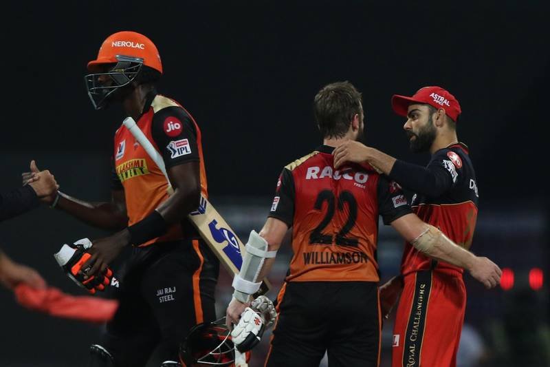 Kane Williamson of Sunrisers Hyderabad and Jason Holder of Sunrisers Hyderabad celebrate the victory during the eliminator match of season 13 of the Dream 11 Indian Premier League (IPL) between the Sunrisers Hyderabad and the Royal Challengers Bangalore at the Sheikh Zayed Stadium, Abu Dhabi  in the United Arab Emirates on the 6th November 2020.  Photo by: Pankaj Nangia  / Sportzpics for BCCI