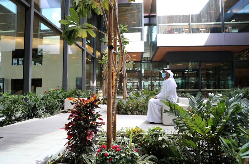 Sharjah, United Arab Emirates - December 10, 2020: News. Arts. Salman Al Tamimi sits in the garden area. Opening of the House of Wisdom, a high tech new library. Thursday, December 10th, 2020 in Sharjah. Chris Whiteoak / The National