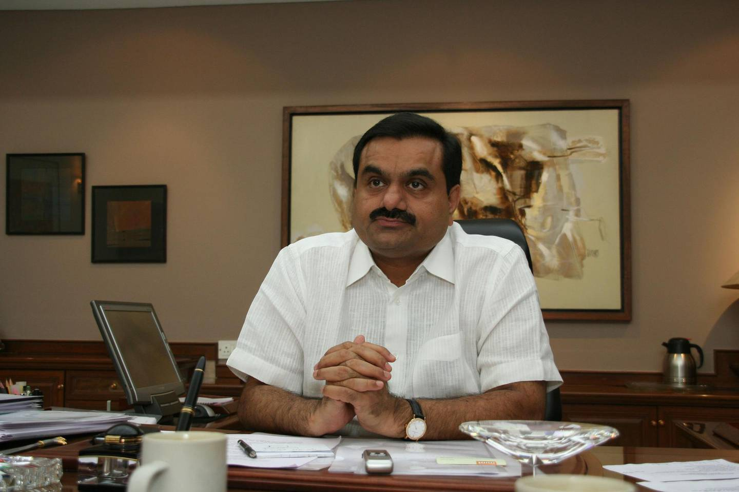 AHMEDABAD, INDIA - JULY 19: Chairman Of Adani Group Gautam Adani poses for a profile shoot during an interview on Jlu on July 19, 2010 in Ahmedabad, India. (Photo by Ramesh Dave/Mint via Getty Images) *** Local Caption ***  bz29jl-gautam-adani.jpg
