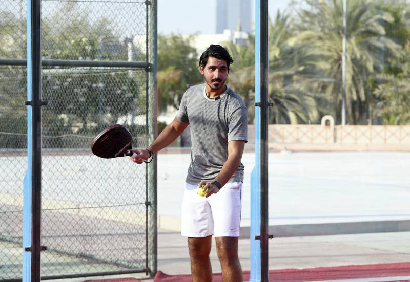 Nasser Al Ketbi-AD Nasser Al Ketbi, 23, plays paddle-tennis at the Abu Dhabi Country Club on May 24, 2021. Khushnum Bhandari / The National  Reporter: Haneen Dajani News