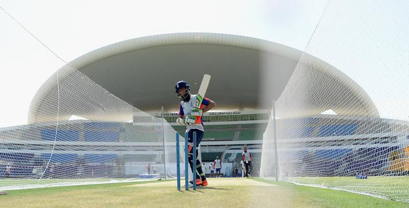 ABU DHABI, UNITED ARAB EMIRATES - OCTOBER 11:  Moeen Ali of England bats during a nets session at Zayed Cricket Stadium on October 11, 2015 in Abu Dhabi, United Arab Emirates.  (Photo by Gareth Copley/Getty Images)