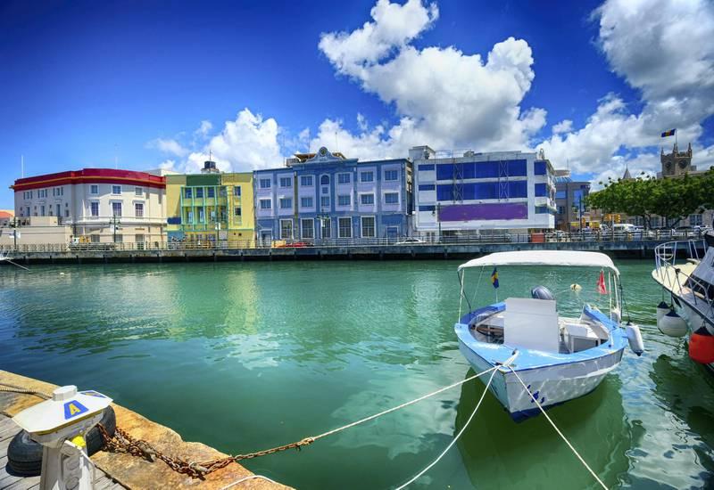 Beautiful water at the marina in Bridgetown, Barbados in the Caribbean.
