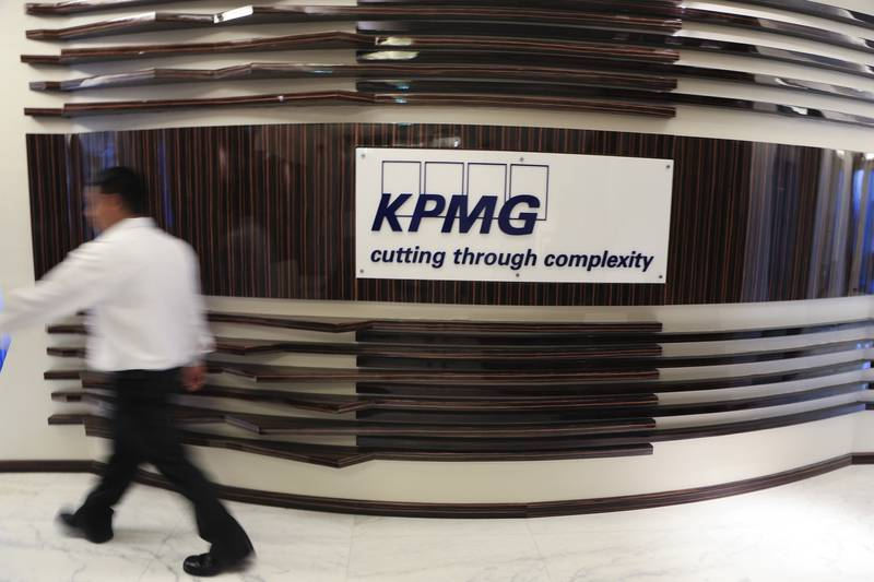 DUBAI, UAE. March 27, 2014- Stock photograph of KPMG branding in Dubai, Thursday, March 27, 2014. (Photos by: Sarah Dea/The National, Story by: Tom Arnold, Business)