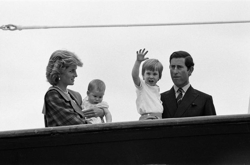 Prince Charles, Prince of Wales and Diana, Princess of Wales are reunited with their sons William and Harry aboard Royal Yacht Britannia in Venice following their two week tour of Italy, 5th May 1985. (Photo by Mirrorpix via Getty Images)