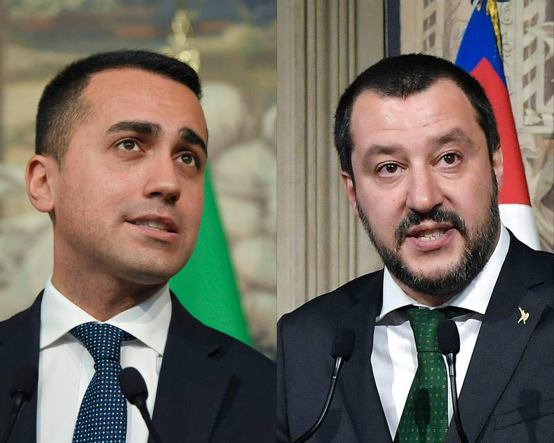 (COMBO) This combination of files pictures created on May 10, 2018 shows anti-establishment Five Star Movement (M5S) leader Luigi Di Maio (L) speaking to the press after a meeting with Italian President Sergio Mattarella on May 7, 2018 at the Quirinale palace in Rome. And the leader of the far-right party Lega, Matteo Salvini, speaking to journalists after a meeting with the Italian President on April 12, 2018, at the Quirinale Palace in Rome.  With coalition negotiations underway between the anti-establishment Five Star Movement and the nationalist League party, on May 10, 2018 Italy could deliver Western Europe it's first deeply populist government. / AFP / Tiziana FABI