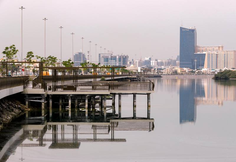 Abu Dhabi, United Arab Emirates, March 16, 2021.  Hazy and overcast weather at Abu Dhabi.  Eastern Mangroves area. Victor Besa/The National Section:  NA FOR:  Stand Alone/ Big Picture