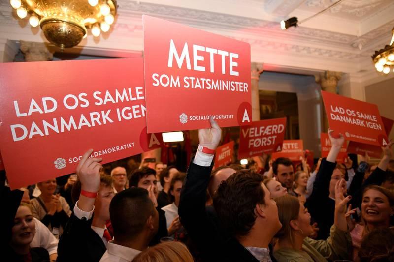 Supporters of Danish Social Democrats celebrate in the parliament in Copenhagen, Denmark, June 5, 2019. REUTERS/Fabian Bimmer