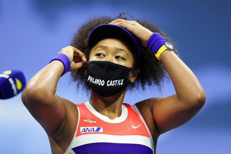 NEW YORK, NEW YORK - SEPTEMBER 10: Naomi Osaka of Japan speaks after winning her Women's Singles semifinal match against Jennifer Brady of the United States on Day Eleven of the 2020 US Open at the USTA Billie Jean King National Tennis Center on September 10, 2020 in the Queens borough of New York City.   Al Bello/Getty Images/AFP
