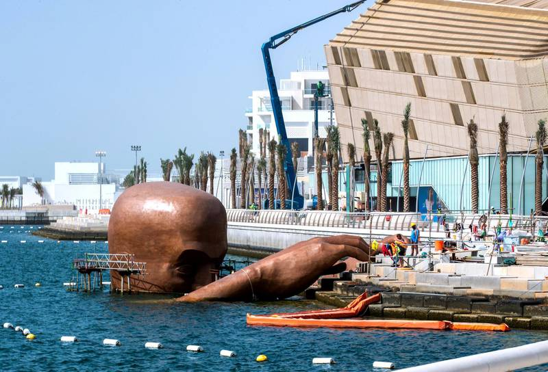 Abu Dhabi, United Arab Emirates, March 2, 2021.  Large sculpture coming out of the water at Etihad Arena.Victor Besa / The NationalSection:  NAReporter:  Gillian Duncan