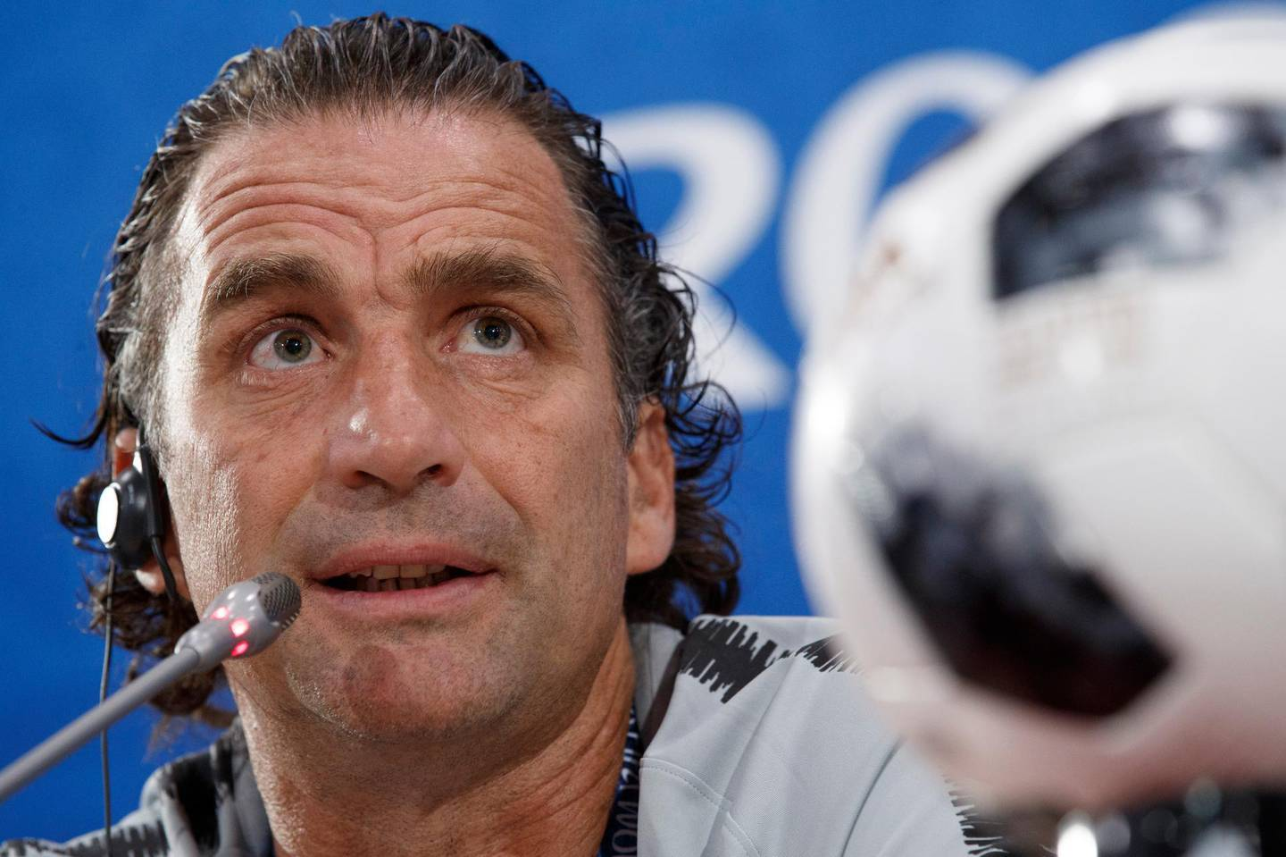 epa06822138 Saudi Arabia head coach Juan Antonio Pizzi during a press conference in Rostov-on-Don, Russia 19 June 2018. Uruguay will play Saudi Arabia in their FIFA World Cup 2018 Group A match 20 June 2018.  EPA/SHAWN THEW   EDITORIAL USE ONLY