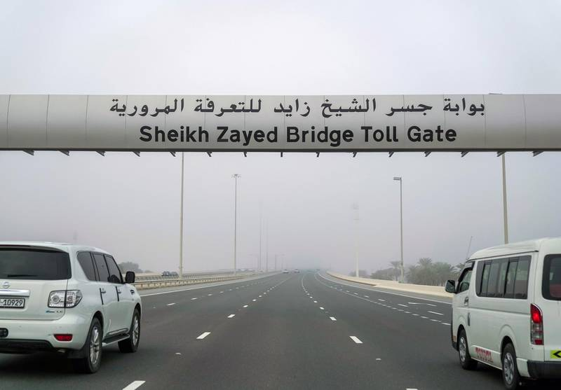 Abu Dhabi, United Arab Emirates, January 2, 2020.  Foggy morning on the first day of the Abu Dhabi toll gates opening. Victor Besa / The NationalSection:  NA