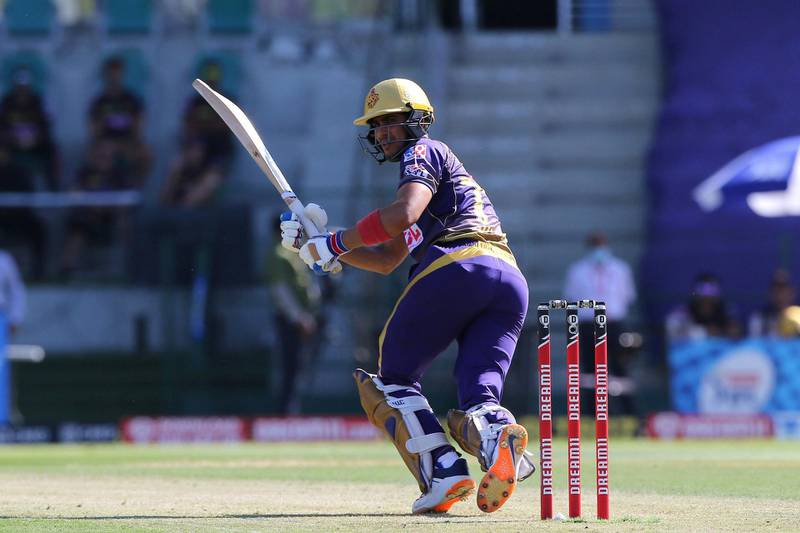 Shubman Gill of Kolkata Knight Riders  plays a shot during match 35 of season 13 of the Dream 11 Indian Premier League (IPL) between the Sunrisers Hyderabad and the Kolkata Knight Riders at the Sheikh Zayed Stadium, Abu Dhabi  in the United Arab Emirates on the 18th October 2020.  Photo by: Pankaj Nangia  / Sportzpics for BCCI