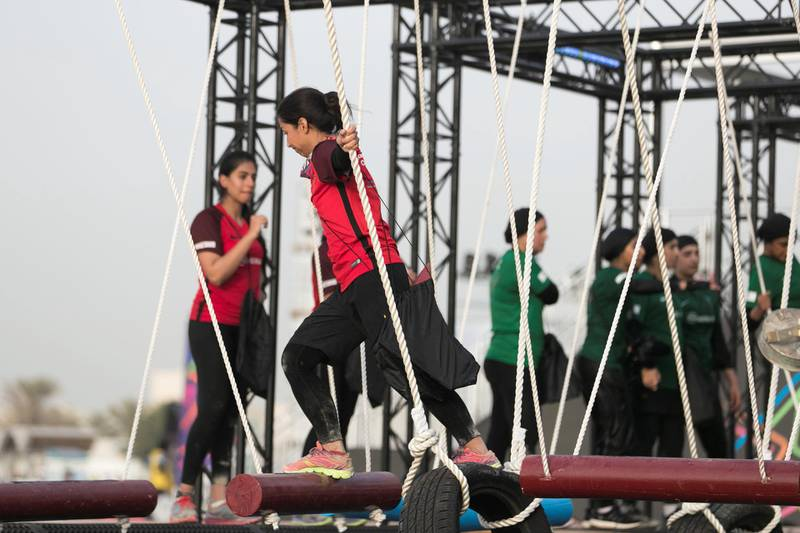 DUBAI, UNITED ARAB EMIRATES - MAY 9, 2018. Iron grip challenge at the first day of Dubai Government Games begins, with female government employees taking part in multiple physical challenges.Set in motion by the Crown Prince of Dubai,  Sheikh Hamdan bin Mohammed, the event sees teams of Government workers pitted against each other in a bid to be Gov Games champions.The competition is held on Kite Beach.(Photo by Reem Mohammed/The National)Reporter: Nawal Al RamahiSection: NA