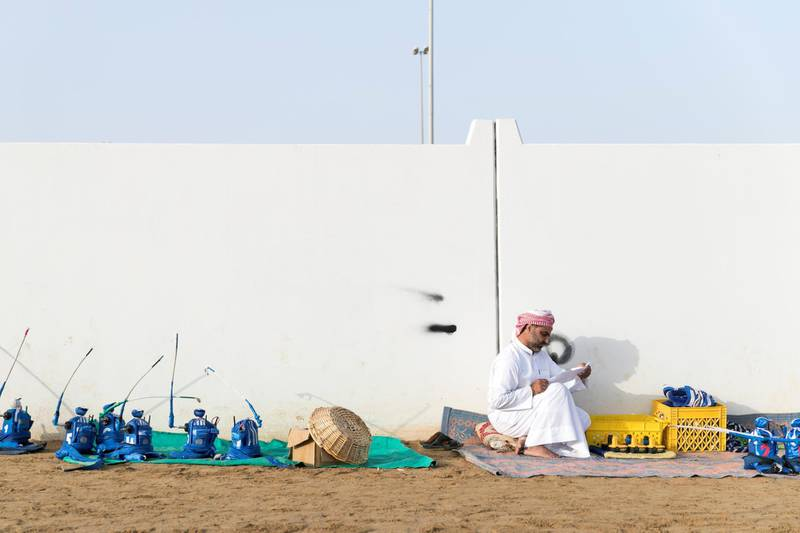 DUBAI, UNITED ARAB EMIRATES - Feb 15, 2018.  Robot jockey station at Al Marmoum Camel Race Track.  The fastest camels in the Gulf will compete for cash, swords, rifles and luxury vehicles totalling Dh95 million at the first annual Sheikh Hamdan Bin Mohammed Bin Rashid Al Maktoum Camel Race Festival in Dubai.   (Photo: Reem Mohammed/ The National)  Reporter: Section: NA