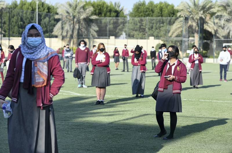 Abu Dhabi, United Arab Emirates - Waiting ground for students, and following social distancing guidelines before exams at Gems Cambridge International School, in Baniyas. Khushnum Bhandari for The National