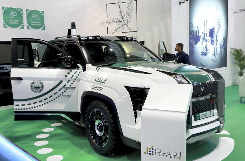 Abu Dhabi, U.A.E., February 18, 2019. INTERNATIONAL DEFENCE EXHIBITION AND CONFERENCE  2019 (IDEX) Day 2--   Dubai Police GHIATH Mobile. Victor Besa/The National