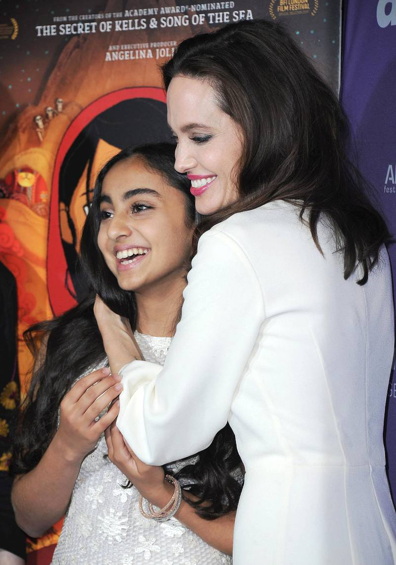 """HOLLYWOOD, CA - OCTOBER 20:  Saara Chaudry and Angelina Jolie arrive at the premiere of Gkids' """"The Breadwinner"""" at TCL Chinese 6 Theatres on October 20, 2017 in Hollywood, California.  (Photo by Jon Kopaloff/FilmMagic)"""