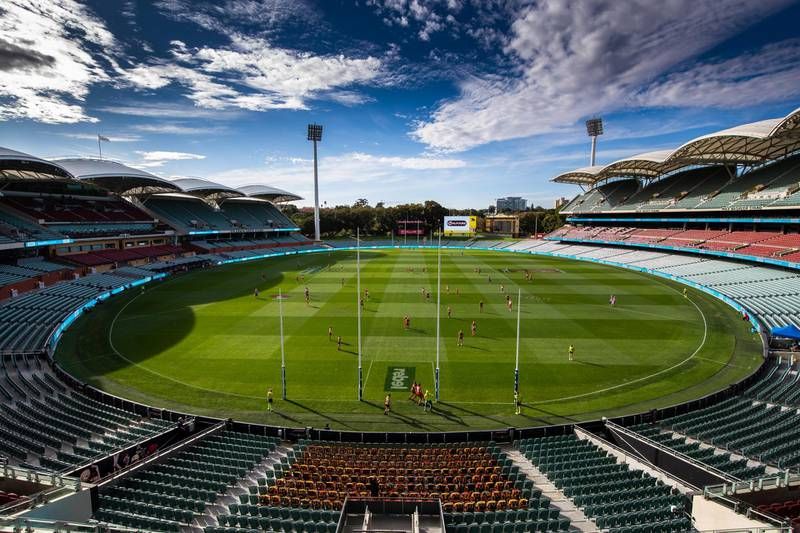 ADELAIDE, AUSTRALIA - MARCH 21: (EDITORS NOTE: Image was altered with digital filters.) A general view of play during the round 1 AFL match between the Adelaide Crows and the Sydney Swans at Adelaide Oval on March 21, 2020 in Adelaide, Australia. (Photo by Daniel Kalisz/Getty Images)