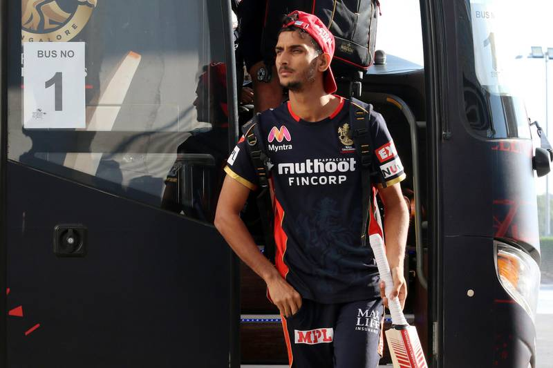 Shahbaz Ahamad of Royal Challengers Bangalore arrives during match 55 of season 13 of the Dream 11 Indian Premier League (IPL) between the Delhi Capitals and the Royal Challengers Bangalore at the Sheikh Zayed Stadium, Abu Dhabi  in the United Arab Emirates on the 2nd November 2020.  Photo by: Rahul Goyal  / Sportzpics for BCCI