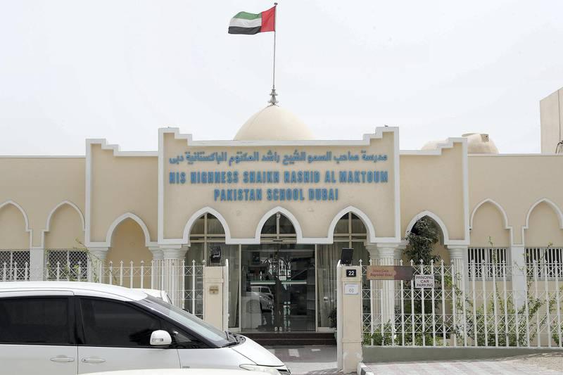 DUBAI , UNITED ARAB EMIRATES , MAY 9 – 2018 :- Outside view of the Shaikh Rashid Al Maktoum Pakistan School in Dubai.  ( Pawan Singh / The National )  For News. Story by Anam Rizvi