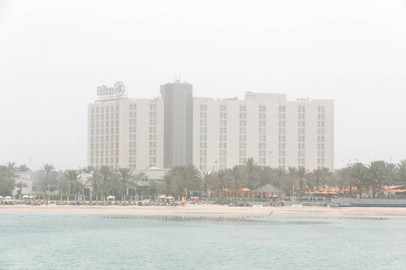 Abu Dhabi, U.A.E., July 6, 2018.Abu Dhabi hazy weather shot from downtown AUH.  The Hilton Hotel Corniche.Victor Besa / The NationalSection:  NAFor:  weather images for Olive Obina