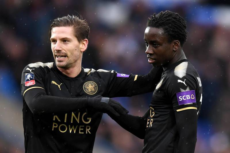 PETERBOROUGH, ENGLAND - JANUARY 27:  Fousseni Diabate of Leicester City celebrates scoring his side's fourth goal with Adrien Silva during The Emirates FA Cup Fourth Round match between Peterborough United and Leicester City at ABAX Stadium on January 27, 2018 in Peterborough, England  (Photo by Michael Regan/Getty Images)