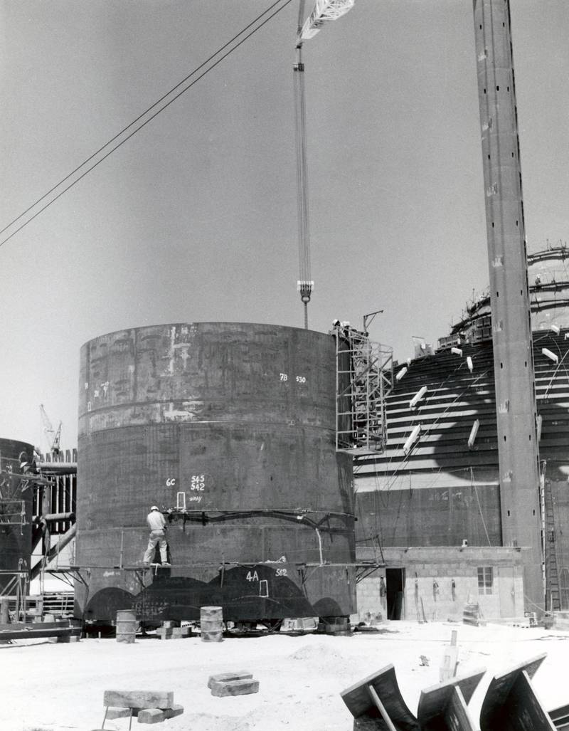 Petroleum tank being built, Dubai Creek, United Arab Emirates. (Photo by Barbara Wace/Royal Geographical Society via Getty Images)