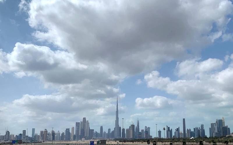 DUBAI, UNITED ARAB EMIRATES , Feb 12  – 2020 :- Dubai skyline during the cloudy weather in Dubai.  (Pawan  Singh / The National) For News/Standalone