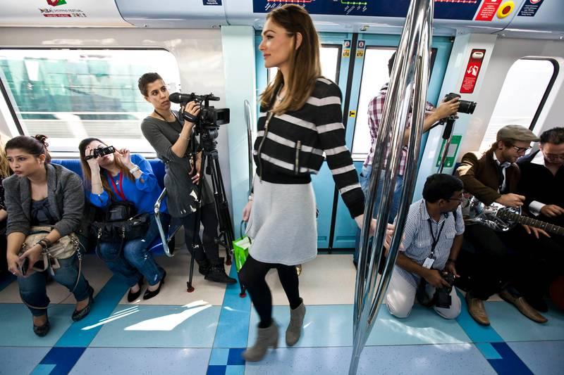 DUBAI, UNITED ARAB EMIRATES,  January 23, 2013. The Fashion Train show by Dubai Shopping Festival and Bloomingdales where a fashion show was held on the Dubai Metro. (ANTONIE ROBERTSON / The National)