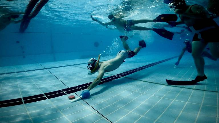 An image that illustrates this article Underwater hockey: quirky sport makes a splash in the UAE