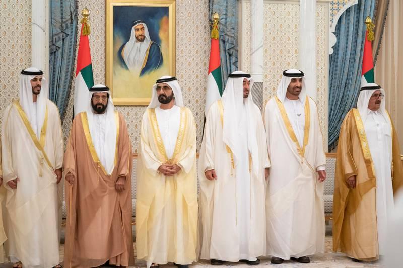 ABU DHABI, UNITED ARAB EMIRATES - March 03, 2020: (R-L) HH Sheikh Hamdan bin Rashid Al Maktoum, Deputy Ruler of Dubai and UAE Minister of Finance, HH Sheikh Saeed bin Zayed Al Nahyan, Abu Dhabi Ruler's Representative, HH Sheikh Mohamed bin Zayed Al Nahyan, Crown Prince of Abu Dhabi and Deputy Supreme Commander of the UAE Armed Forces, HH Sheikh Mohamed bin Rashid Al Maktoum, Vice-President, Prime Minister of the UAE, Ruler of Dubai and Minister of Defence and HH Sheikh Tahnoon bin Mohamed Al Nahyan, Ruler's Representative in Al Ain Region, attend a wedding reception of HH Sheikh Hamdan bin Saeed bin Zayed Al Nahyan (L), at Qasr Al Watan.  ( Mohamed Al Hammadi / Ministry of Presidential Affairs ) ---