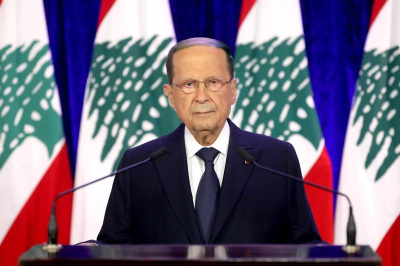 epa08834874 A handout photo made available by the Lebanese official agency Dalati and Nohra shows Lebanese President Michel Aoun delivering a televized address on the eve of the 77th Independence Day, at the presidential palace in Baabda, east of Beirut, Lebanon, 21 November 2020. The Lebanese Presidency announced on 18 November 2020 that all types of national celebrations on the occasion of Lebanon's 77th Independence Day will be cancelled due to the coronavirus pandemic.  EPA/DALATI&NOHRA HANDOUT  HANDOUT EDITORIAL USE ONLY/NO SALES