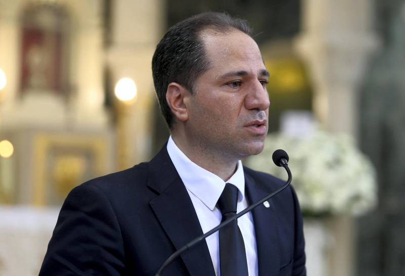 Samy Gemayel, head of the Christian Kataeb party, who announced his resignation during the funeral of Nazar Najarian, a leading member of the party who died as the result of Tuesday's blast in Beirut's port area, talks during his funeral in Beirut, Lebanon August 8, 2020. REUTERS/Aziz Taher