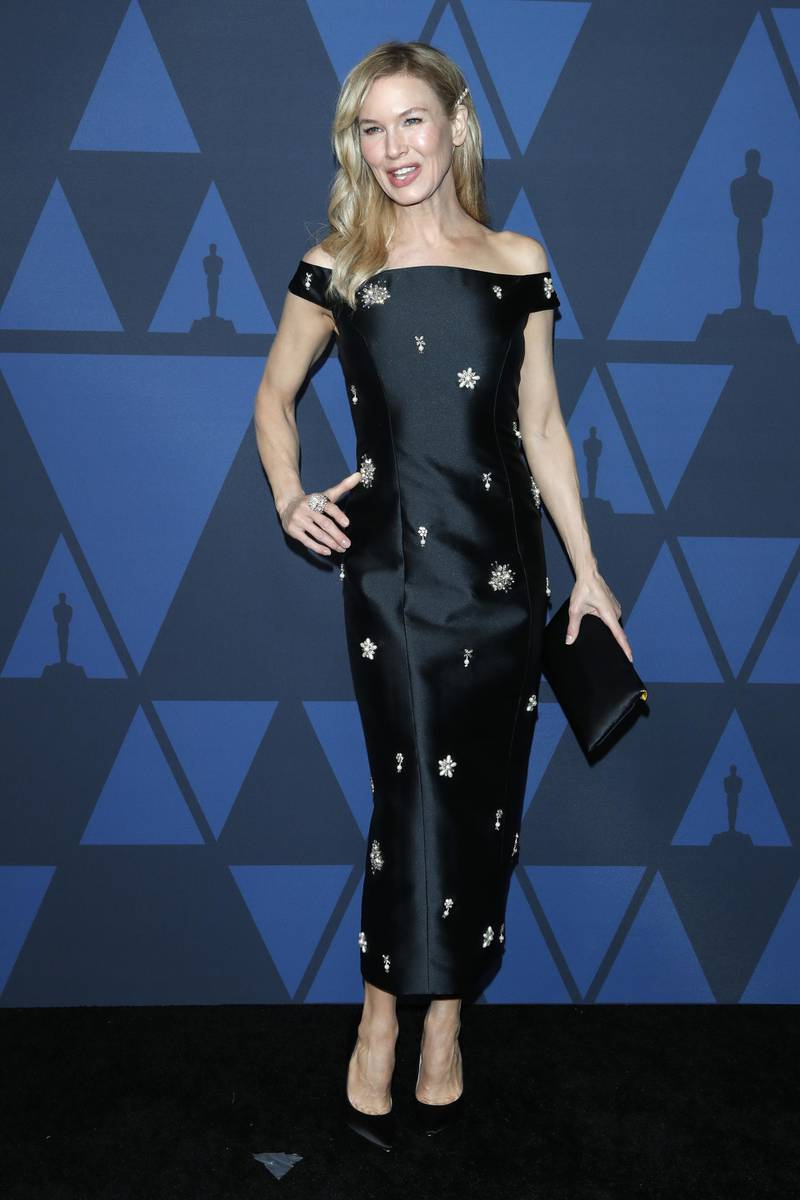epa07955311 US actress Renee Zellweger poses on the red carpet prior the 11th Annual Governors Awards at the Dolby Theater in Hollywood, California, USA, 27 October 2019.  EPA-EFE/NINA PROMMER
