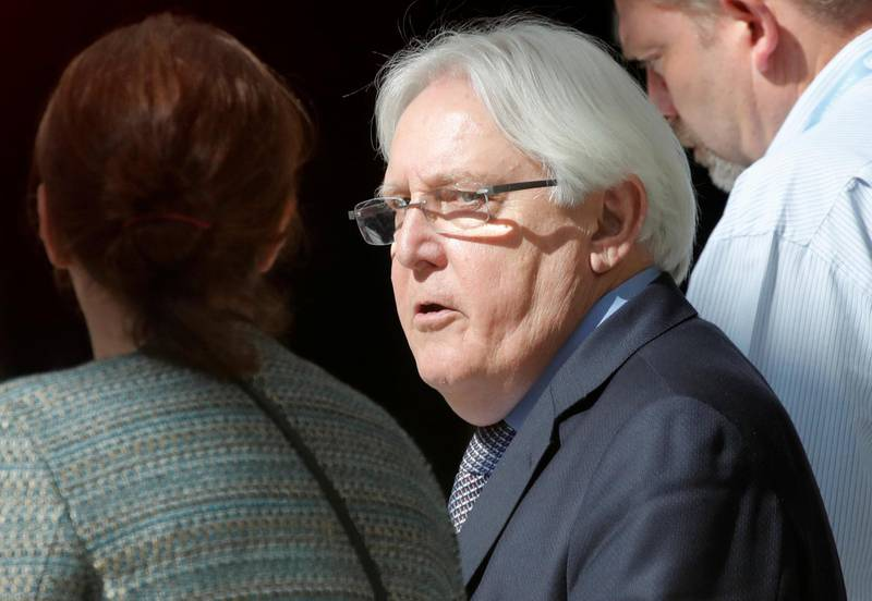 United Nations envoy Martin Griffiths walks in a hotel lobby before meeting the delegation of the Government of Yemen in Geneva, Switzerland September 7, 2018. Picture taken through a window. REUTERS/Denis Balibouse