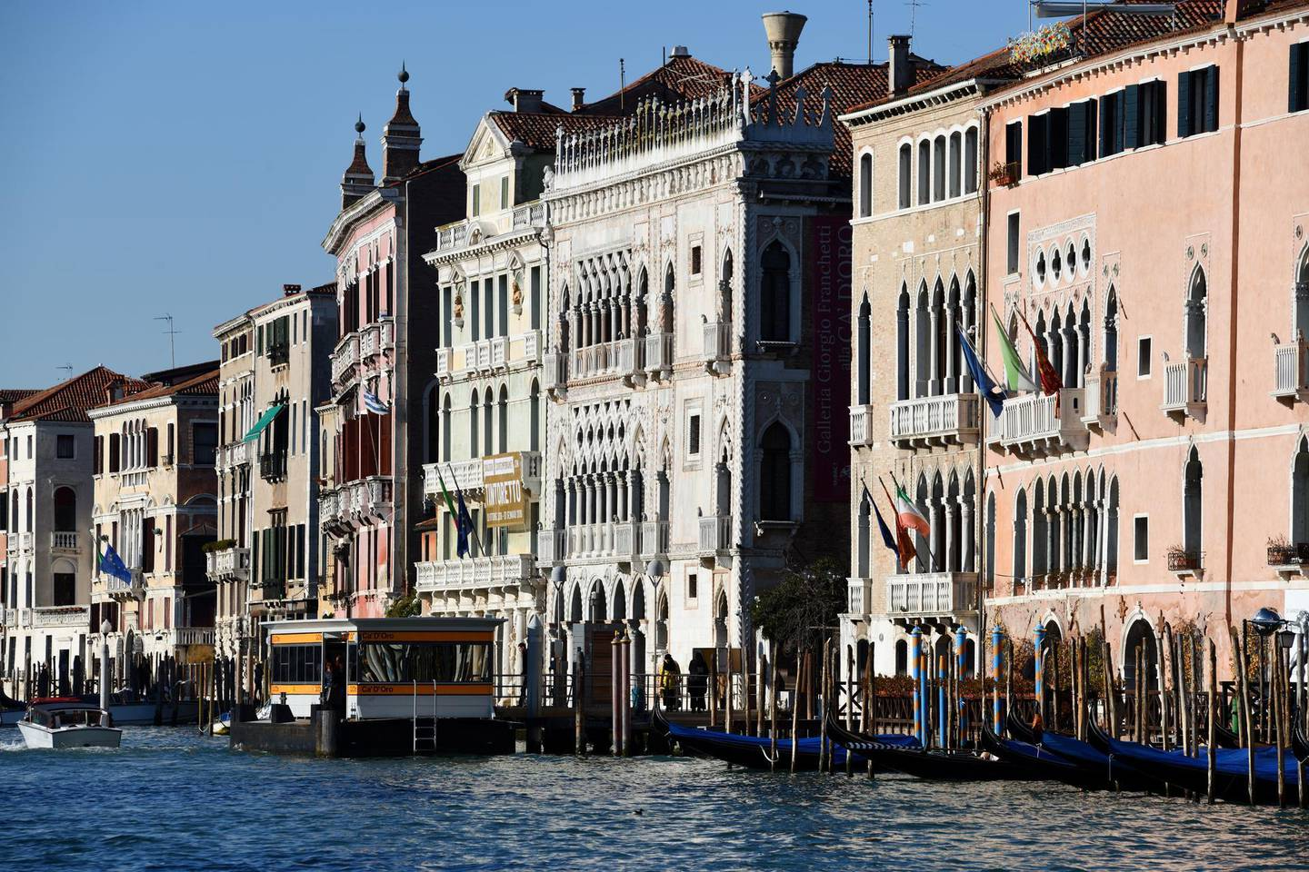 ITALY, VENICE - FEBRUARY 08 : Venice is a city in northeastern Italy and the capital of the Veneto region. It is situated across a group of 118 small islands that are separated by canals. Grand Canal and palaces in Venice on February 08, 2019, Italy. (Photo by Frédéric Soltan/Corbis via Getty Images)