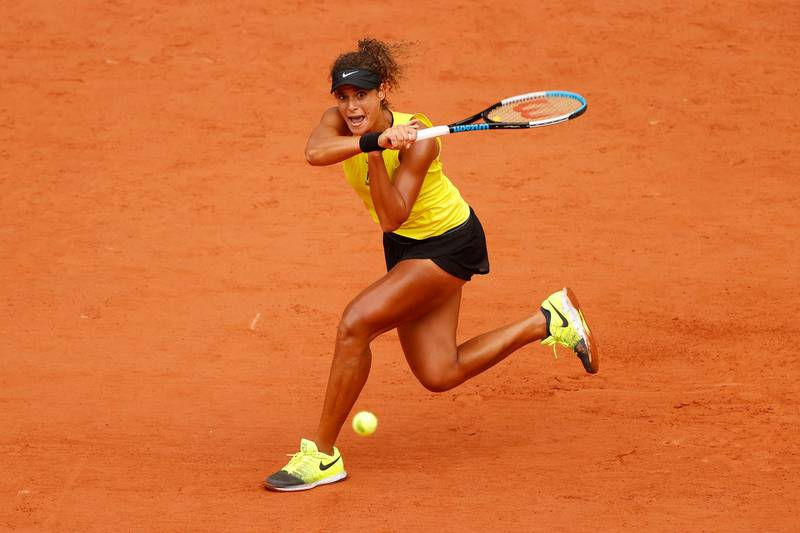 PARIS, FRANCE - SEPTEMBER 29: Mayar Sherif of Egypt plays a backhand during her Women's Singles first round match against Karolina Pliskova of Czech Republic on day three of the 2020 French Open at Roland Garros on September 29, 2020 in Paris, France. (Photo by Clive Brunskill/Getty Images)