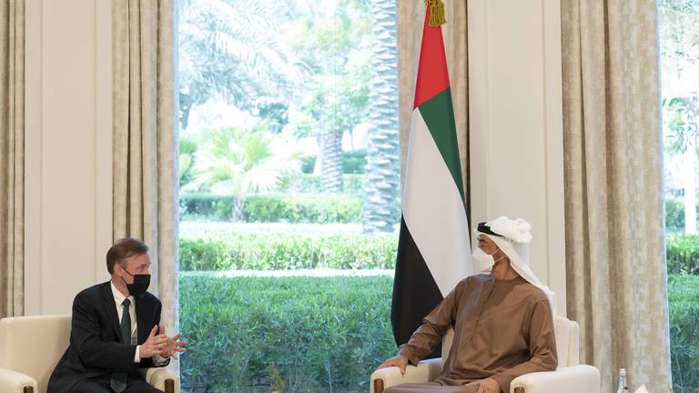 An image that illustrates this article Sheikh Mohamed bin Zayed meets US national security adviser