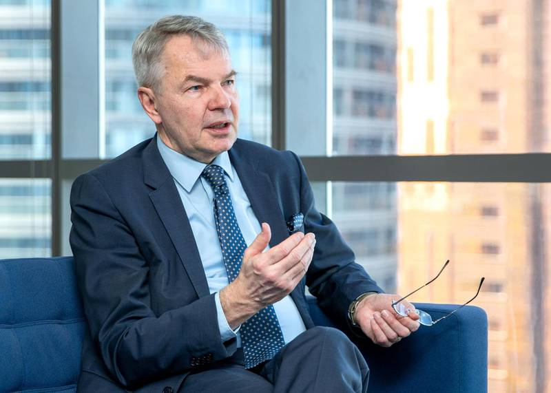 Abu Dhabi, United Arab Emirates, April 6, 2021.  Interviewwith Ministerfor Foreign Affairs of Finland Pekka Haavisto.Victor Besa/The NationalSection:  NAReporter:  Ahmed Maher