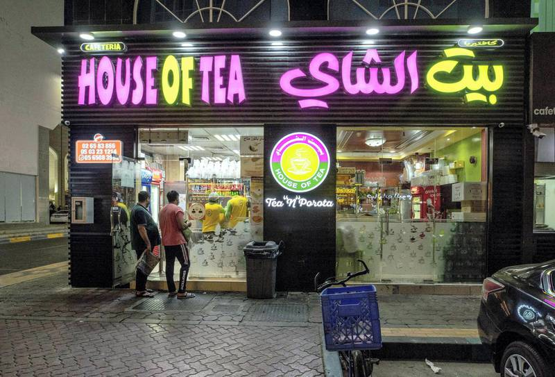 Abu Dhabi, United Arab Emirates, October  12, 2020.  Khalidiya by night article by Saeed Saeed on restaurants, café's on Al Yahar Street.  The famous and long standing House of Tea on the strip.Victor Besa/The NationalSection:  NAReporter:  Saeed Saeed